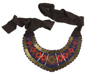 MARINA-RINALDI-Women-039-s-Brown-Laterale-Tribal-Beaded-Collar-Necklace-195-NWT