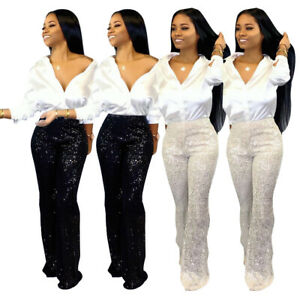 Sexy-Women-Sequin-Flares-High-Waist-Trousers-Strech-Palazzo-Wide-Leg-Party-Pants