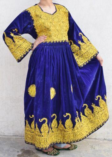 Vintage Afghan Dress Embroidered Floral Indian Boh
