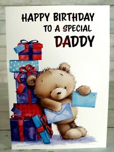 Happy Birthday Card For Daddy, Lovely Cute Bear With Presents