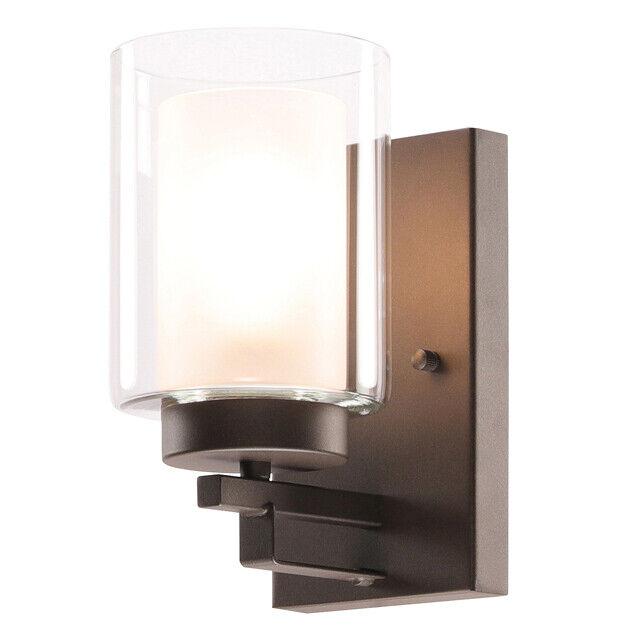 Wall Light Vanity Lights 1 Bathroom Lighting With Dual Glass Shade Dark Bronze For Sale Online Ebay