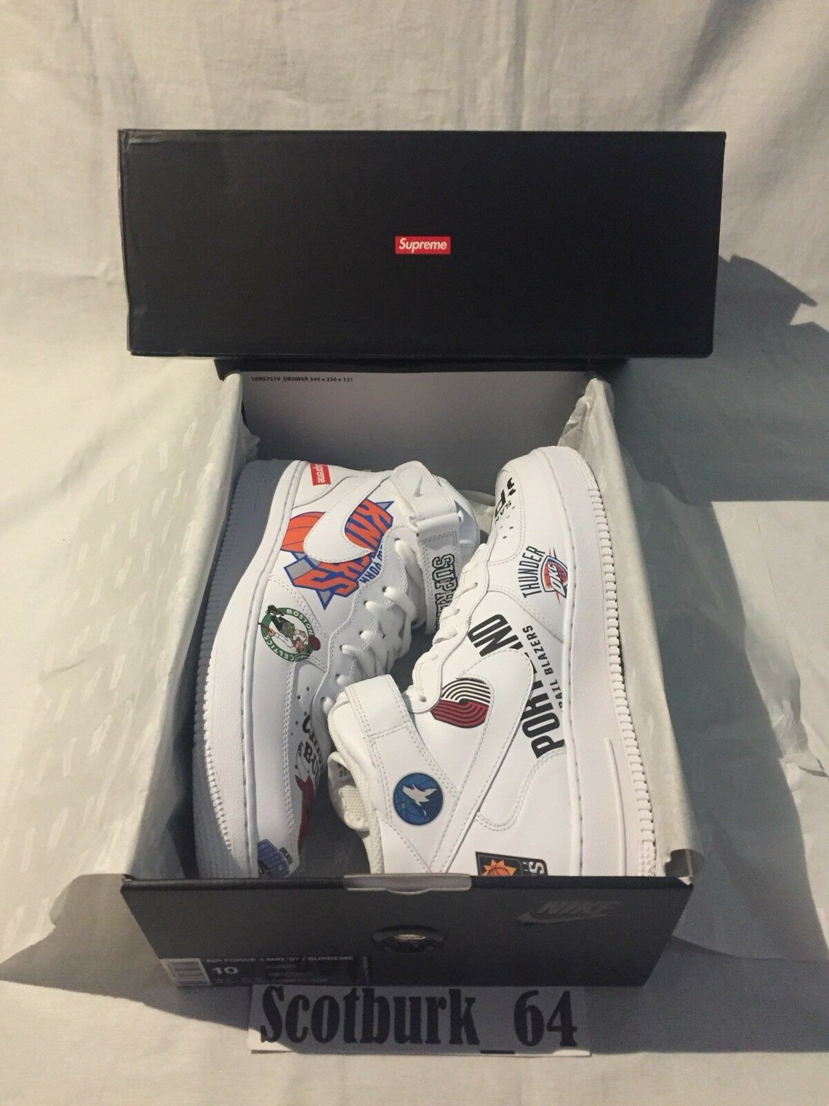 Supreme X NBA Teams Air Force 1 Mid Size 10 White W  Reciept Brand New DS