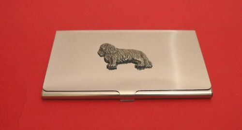 King Charles Spaniel Dog Pewter Motif Chrome Plated Card Holder Useful Gift NEW
