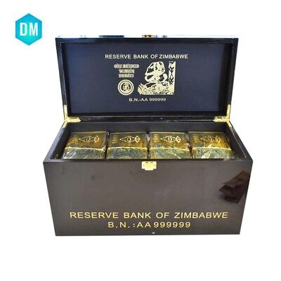 1200pcs Z$100 Trillion Dollar 24k Gold Plated Zimbabwe Banknote with Wooden Box