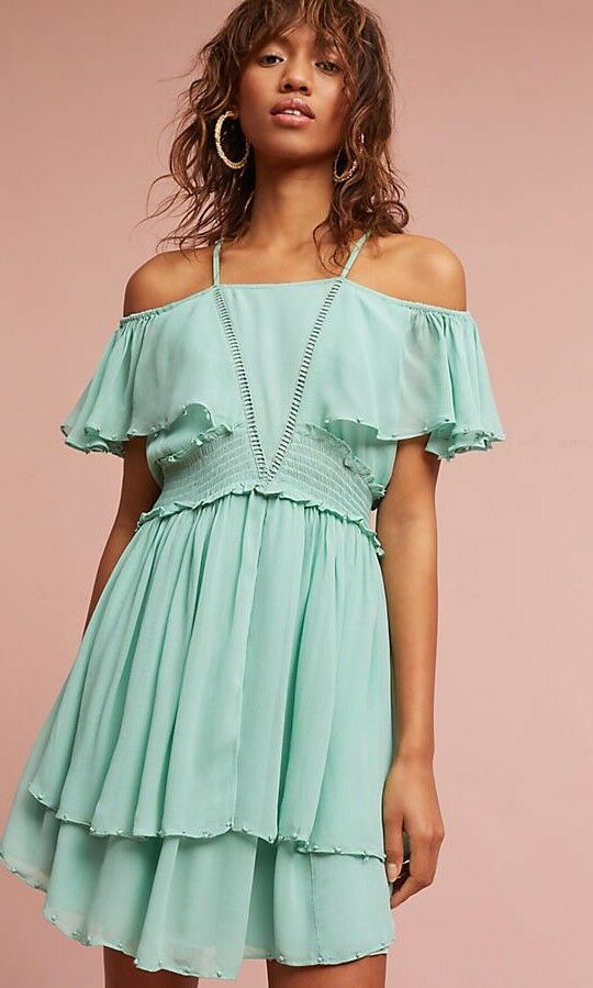 Anthropologie elisa ruffled dress by maeve, Größe large, nwt