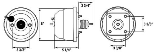 "Chrome Plated 8/"" Dual Diaphragm Power Brake Booster"