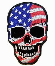 AMERICAN FLAG SKULL  PATCH P7290 NEW jacket patches BIKER EMBROIDERIED  iron on