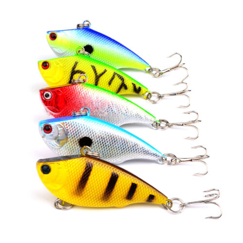 5PCS Fishing Fish Bass VIB Crankbaits Crank Minnow lure hook baits 5.5cm//7.5g
