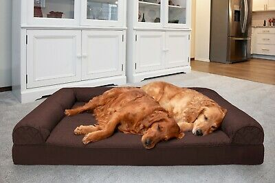 FurHaven Large Quilted Orthopedic Sofa Pet Bed for Dogs and Cats Silver Gray