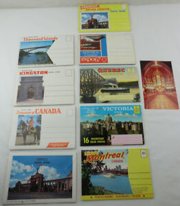 Lot-Of-9-Vintage-Canada-Postcard-Fold-Out-Folders-Booklets-Books-Expo-Montreal