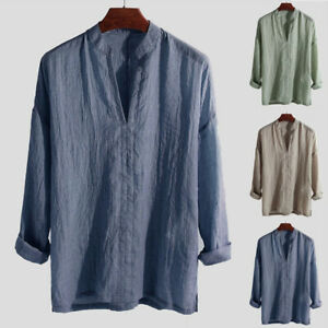 Fashion-Men-V-neck-Shirts-Long-Sleeve-Tops-Linen-Blend-Loose-Casual-Solid-M-2XL
