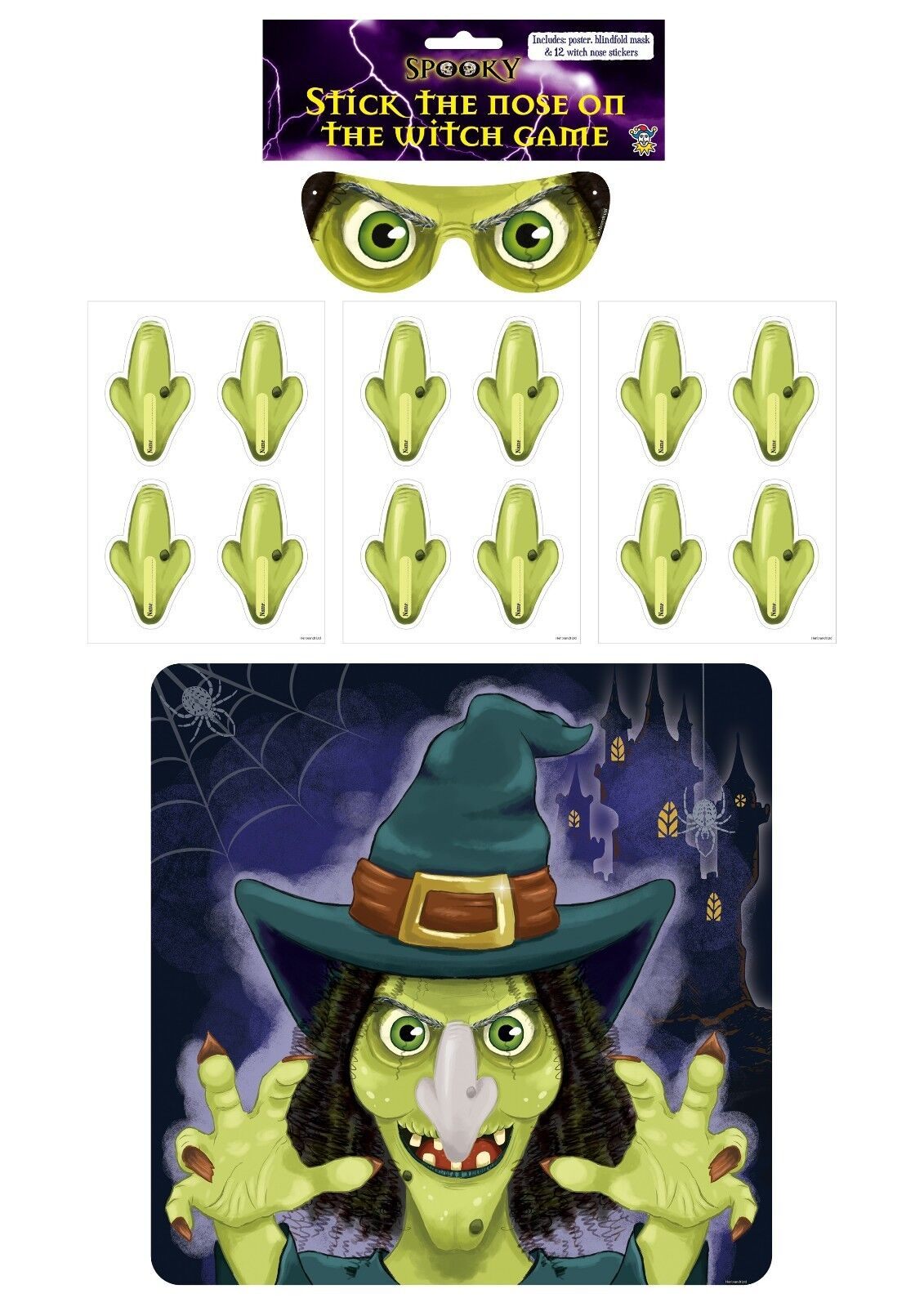 Pin the Tail on Donkey Party Game for HALLOWEEN Stick the Nose on Witch Kids
