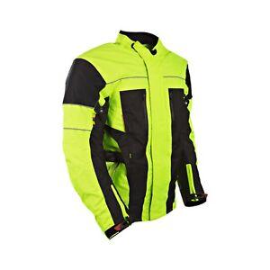 Haute-Visibilite-Noir-Neon-Textile-Veste-Moto-Etanche-Ce-Renforce