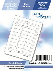 Klebeetiketten DIN A4 weiß 64x33,8mm 1000 Blatt Laser Inkjet Kopierer