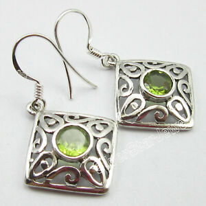 Sterling-Silver-Peridot-Drop-Dangle-Earrings-Stone-Jewelry