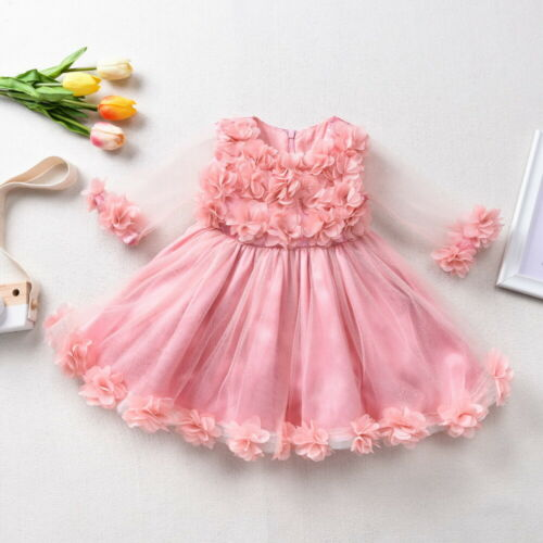 Girl Kids Baby Lace Princess Dress Party Wedding Tulle Tutu Dresses 1-4 Years