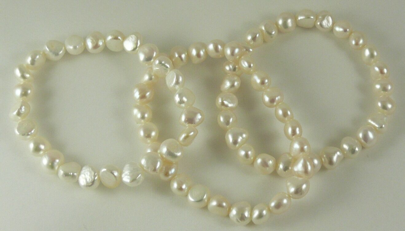 Freshwater White Pearl Stretchy Bracelets 7 Inches