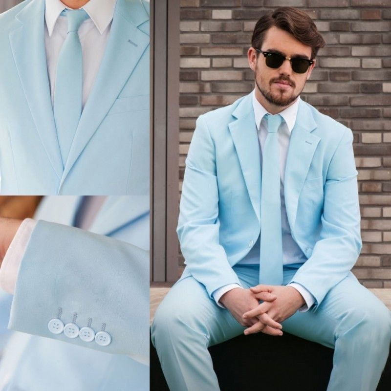 Light bluee 2 Pieces Slim Fit Best Man Tuxedo Formal Groomsman Wedding Prom Suit