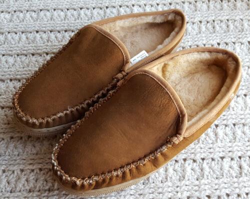 Mens Leather Sheepskin Clog Slippers Moccasins Low Heel Slip-On Shearling Inside