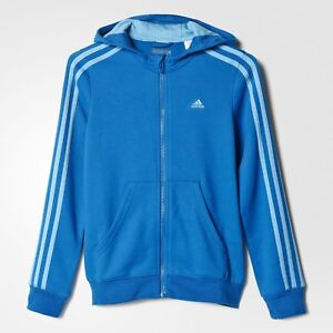 Details about adidas girls blue ess 3 stripe zip up slim fit hoodie. Track top. 3 14 Years.