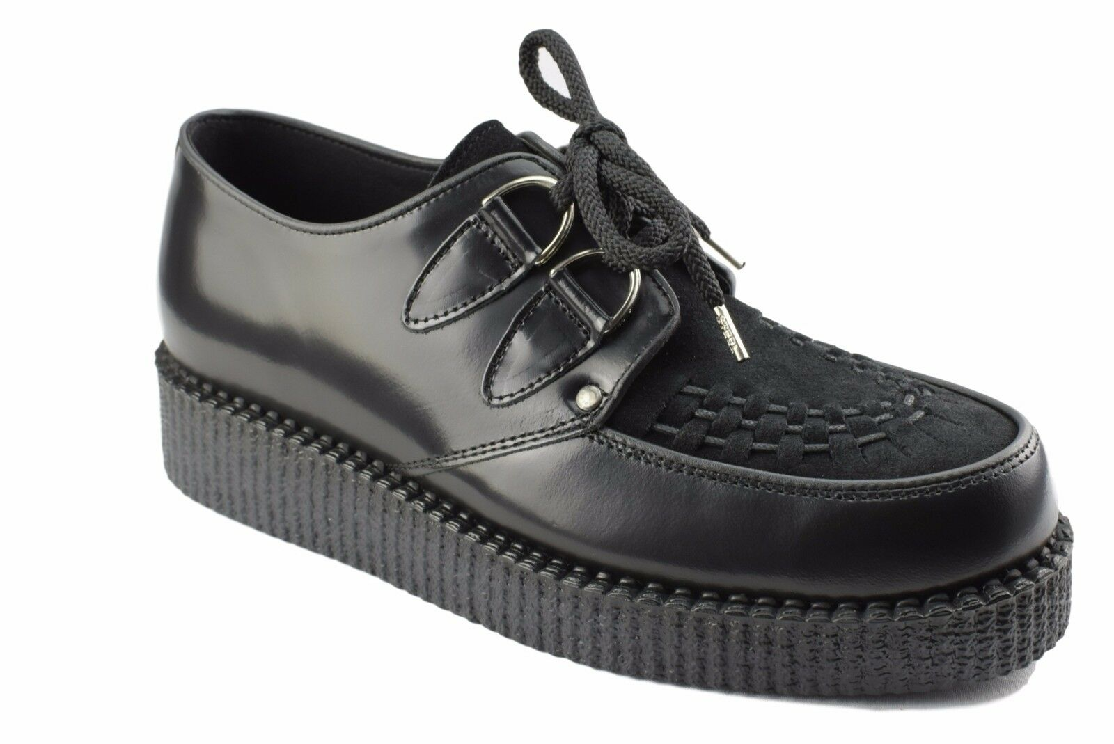 Steel Ground schuhe schwarz Leather schwarz Suede Creepers Low Sole D Ring Casual