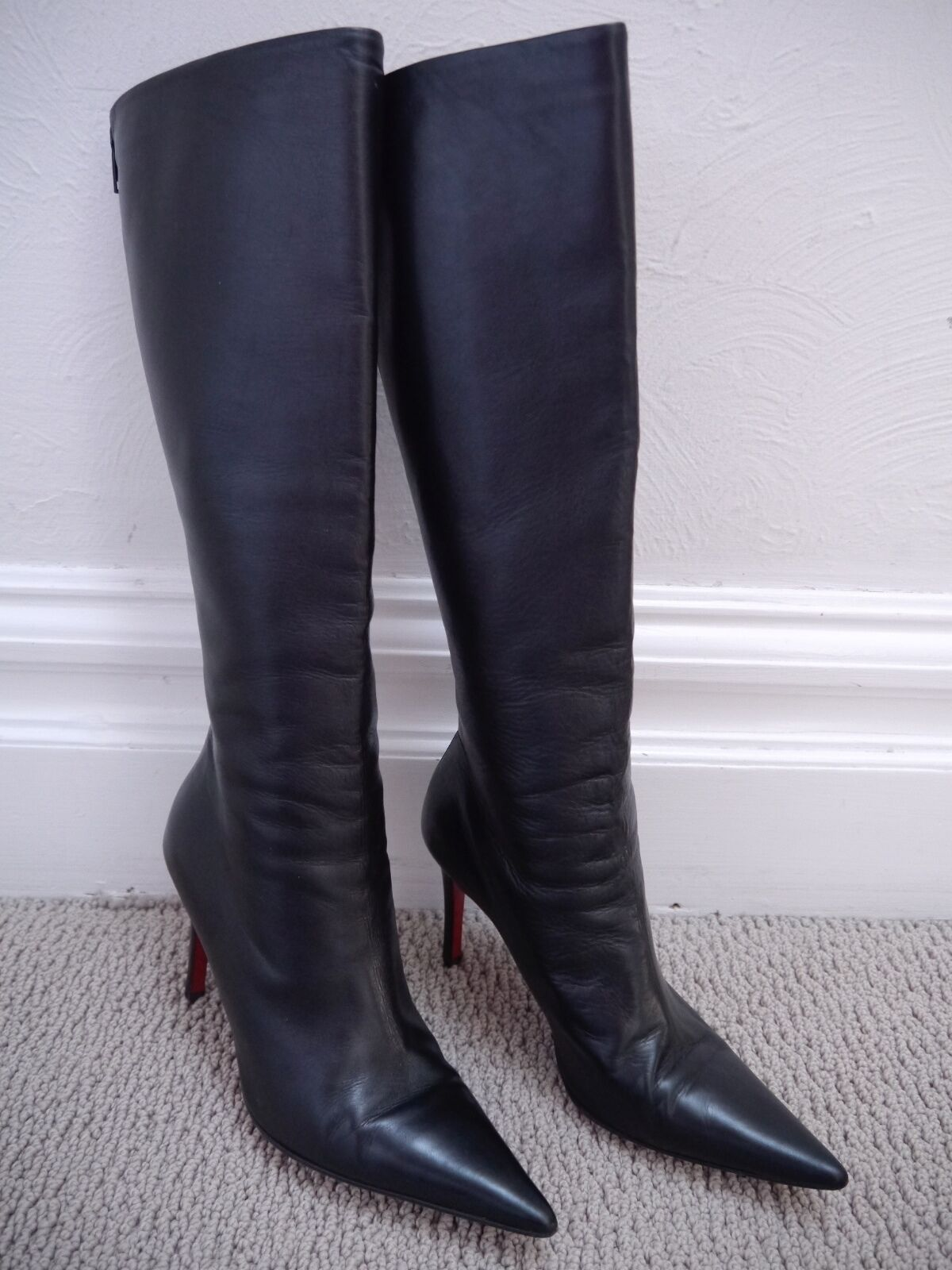 CHRISTIAN LOUBOUTIN black leather pointed toe knee high boots Italian size 36.5