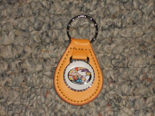 PLYMOUTH ROAD RUNNER RAPID TRANSIT LOGO LEATHER KEYCHAIN KEYRING NEW TAN