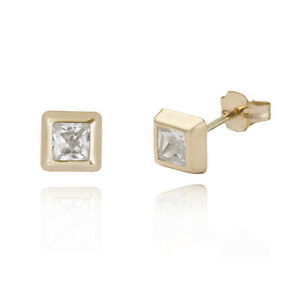 9ct White Gold 4mm Square Studs earrings Gift boxed