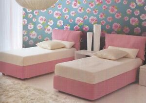 Camere Da Letto Singolo.Letto Singolo In Tessuto Rosa E Bianco Con Contenitore Camera Da