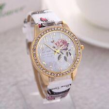 Ladies Fashion Floral White Gold Multi-Colour Vintage Print Leather Strap Watch