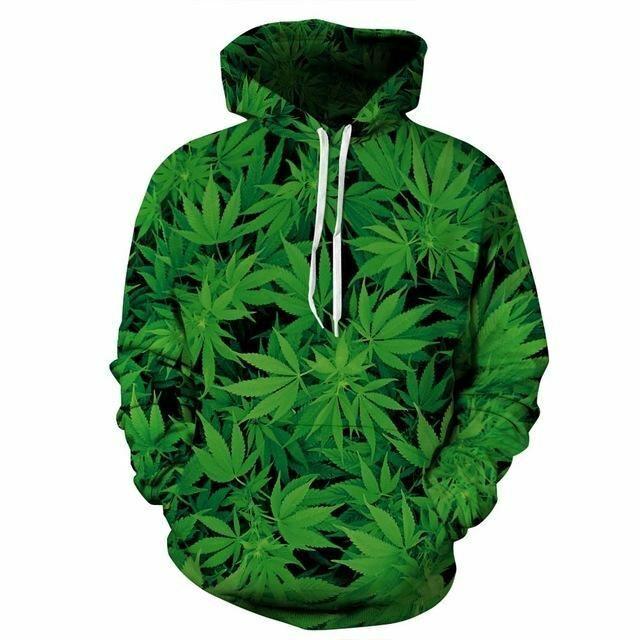 Mr.1991INC Green Leaves Hoodies Men Men Men women Sweatshirt With Cap Hooded Hoodies Pri a7ce2f