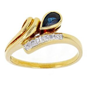 18k-Yellow-Gold-0-10ctw-Pear-Sapphire-amp-Diamond-Bypass-Ring-Size-6-75