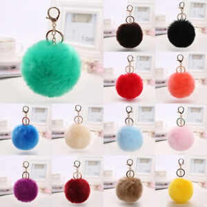 Rabbit-Fur-PomPom-Key-Ring-Charm-Fluffy-Ball-Handbag-Phone-Car-Keychain-Purse
