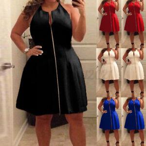UK 14-26 Women Oversize Sleeveless Zip Up Cocktail Party Club Short Mini Dress