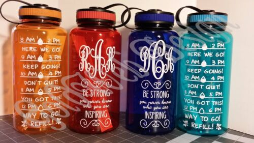 Personalized Monogrammed Fitness Water Intake Training Sports Bottle 34oz