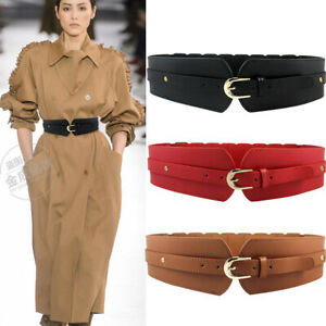 Womens-Waistband-Belt-Wide-Leather-Fashion-Elastic-Stretch-Corset-Cinch