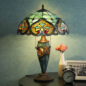 Tiffany-Style-Table-Lamp-Victorian-Double-Lit-Desk-Lamp-Stained-Glass-Home-Decor