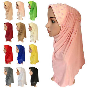 Muslim-Women-Bead-Hijab-Long-Scarf-Turban-Headwear-Hat-Islamic-Cap-Wrap-Cover