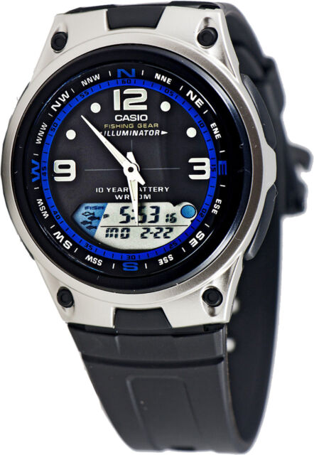 Casio AW-82-1AV Fishing Timer Moon Data Watch 10 Year Battery 3 Alarms Brand New