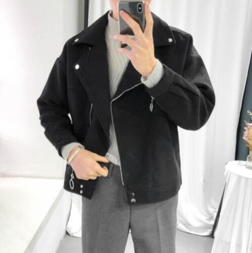 New Men/'s Fashion Hiver Veste Motard Moto Vestes Youth chaud laine manteaux
