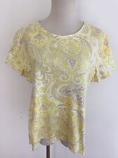Charter Club Luxury Pima Cotton Top T-Shirt Yellow Taupe White Paisley Sz L NWOT