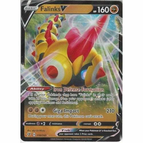 110//192 Falinks V Rare Holo V Card Pokemon Sword /& Shield Rebel Clash