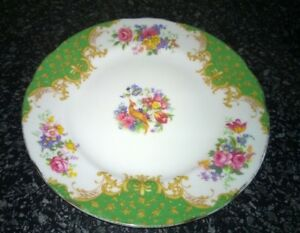 Vintage-Paragon-Green-Rockingham-Pattern-Plate-6-1-4-inches-approx-Made-England