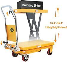 Apollolift Single Scissor Lift Table Manual Hydraulic Cart Truck 660lb Capacity