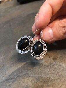 Vintage-Sterling-Silver-Handmade-Earrings-925-Silver-Dangles-W-Obsidian-Inlay