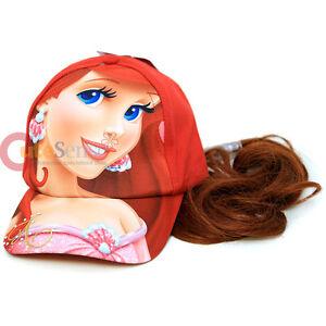 Disney-Princess-Mermaid-Ariel-Girls-Baseball-Cap-with-Hair-Wig-Hair-extension