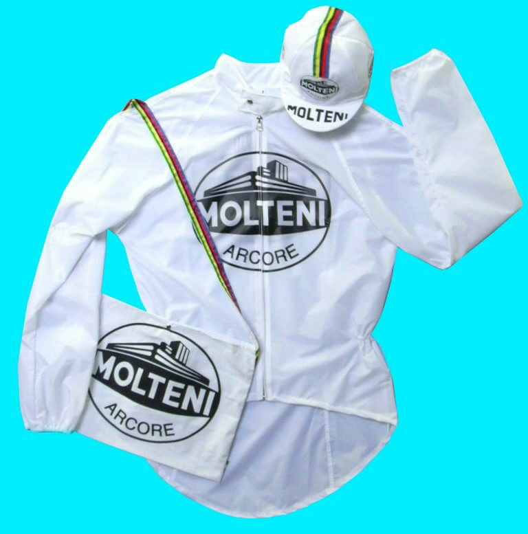 Molteni Regenjacke für Radsport Weiß wasserdicht Pro XL Größe