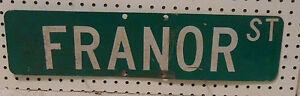VINTAGE USED STREET SIGN YAGER AV GREEN W WHITE LETTERS  6 x 24 ALUMINUM