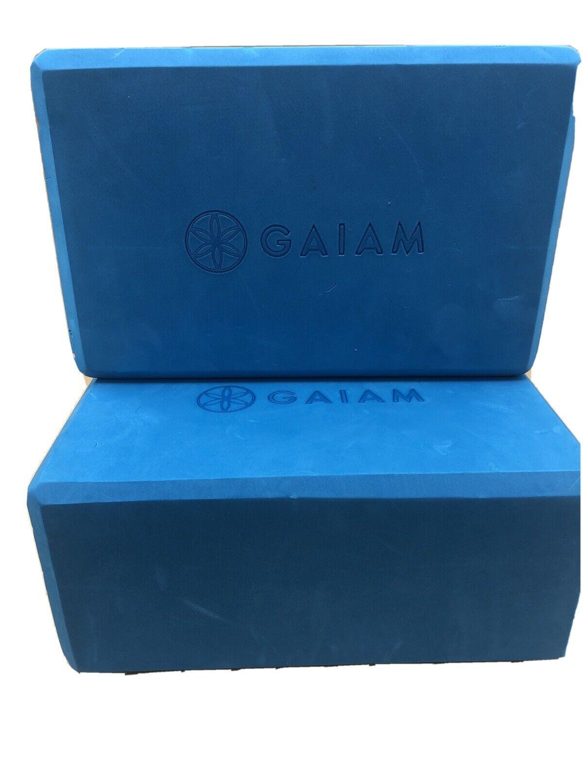 2 Gaiam Foam Yoga Block appox. 9″ x 6″ x 4″  Teal Blue Light Use
