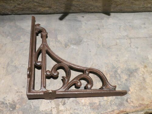 "Brace 9/"" x 9/"" Set of 2 Extra Large Cast Iron Expresso Scroll Shelf Bracket"